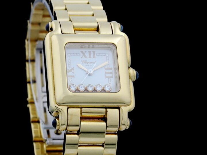CHOPARD HAPPY SPORT SQUARE LADIES 18kt GELBGOLD DIAMANTBESATZ 31x23 | 27/6851-23