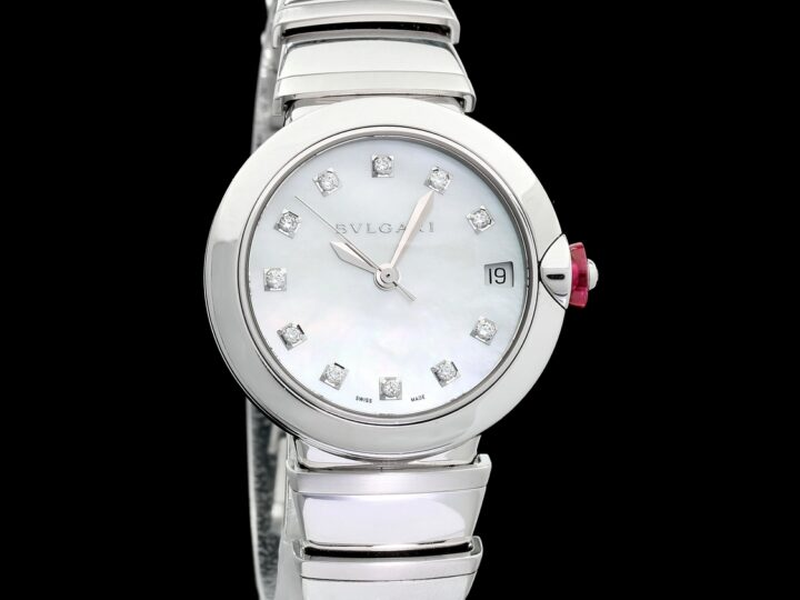 BULGARI LUCEA AUTOMATIC 33MM LADIES MOTHER OF PEARL DIAL DIAMONDS | LU 33 S