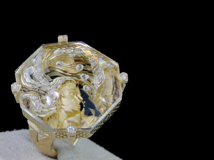 EXKLUSIVER SCHMUCK MAGERIT ATLANTIS COLLECTION 18KT GELBGOLD RING SIRENA BURBUJA