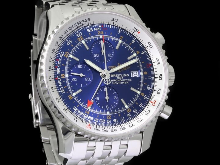 Breitling Navitimer World GMT Chronograph Edelstahl 46mm, Blau-Metallic, Ref.A24322