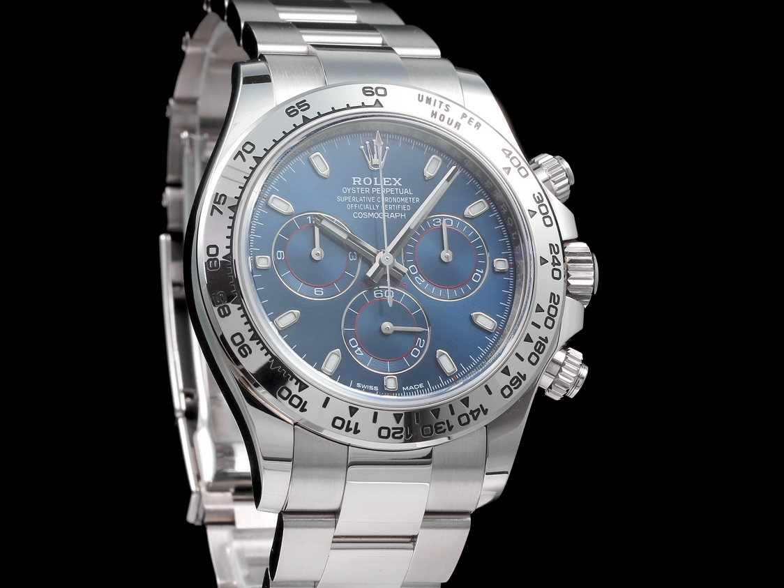 rolex cosmograph daytona weissgold blaues zifferblatt. Black Bedroom Furniture Sets. Home Design Ideas