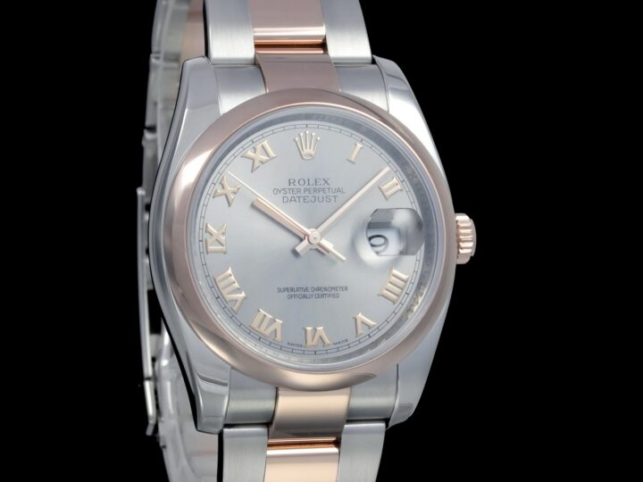 Rolex Datejust 36mm, Rolesor, Everose-Gold, Grau Zifferblatt, 116201