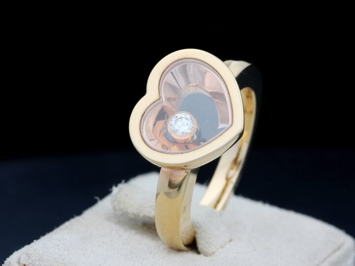 Chopard Ring, Happy Diamonds Herz Heart, Roségold, Ringgröße 54