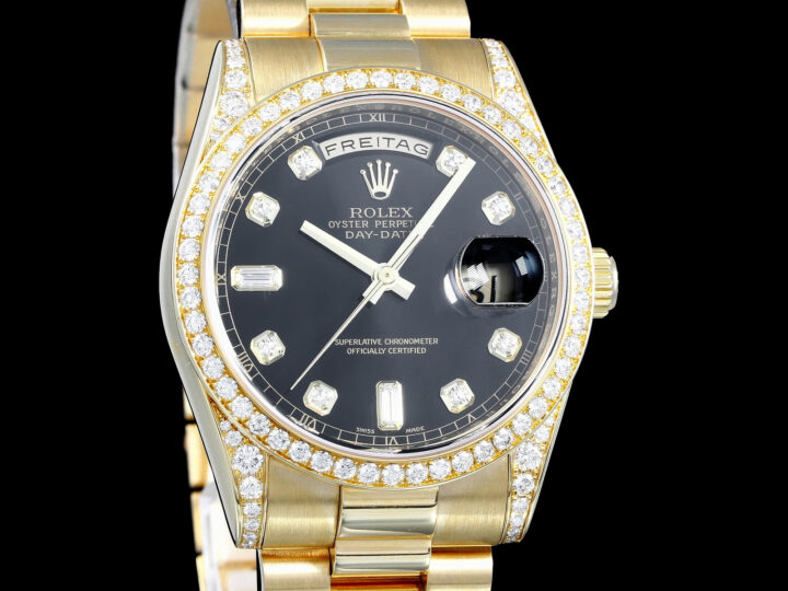 Rolex Day-Date 36, Diamond Set, Diamanten, Gelbgold, LC100, 118388