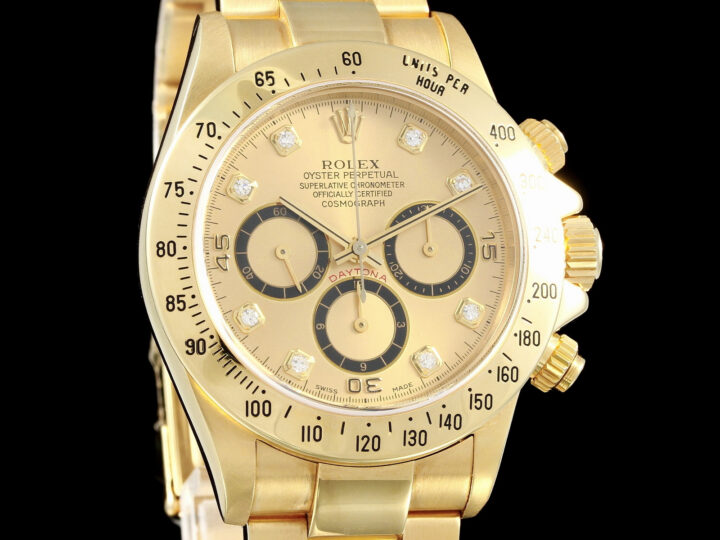 Rolex Daytona Gelbgold, Inverted 6, Diamant-Zifferblatt, S Serie, 16528, Zert.+Box